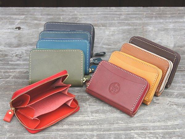 画像1: ポケットにすっぽり収まるラウンドファスナーコンパクトウォレット!本革ミニ財布 (1)