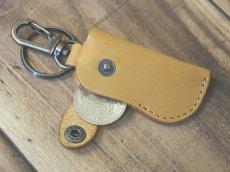 画像4: 【100円が5枚入るよ】本革ミニウォレット型キーホルダーコインケース (4)