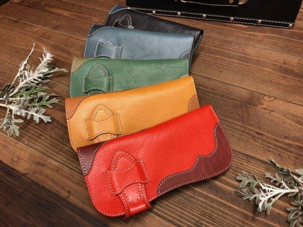 画像1: Rデザインの存在感あるお財布!差し込みタイプ本革ロングウォレット! (1)