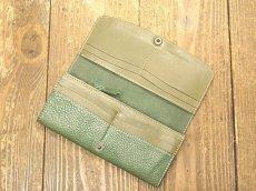 画像4: ワンボタンフラップタイプ本革長財布 カード収納12ポケット (4)