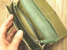 画像5: ワンボタンフラップタイプ本革長財布 カード収納12ポケット (5)