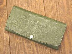 画像3: ワンボタンフラップタイプ本革長財布 カード収納12ポケット (3)