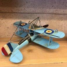 画像2: 【ブリキ飛行機模型】スカイブルーの複葉機★プロペラ機 (2)