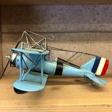 画像5: 【ブリキ飛行機模型】スカイブルーの複葉機★プロペラ機 (5)