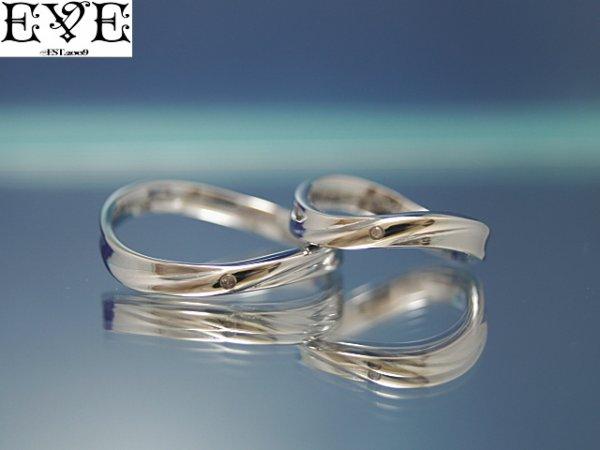 画像1: EVE【イヴ】天然ダイヤモンド!サージカルステンレスペアリング!マリンウェーブリング♪7号〜21号☆ペア販売 (1)
