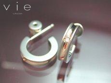 画像2: vie【ヴィー】ジルコニア&ループ!ステンレスピアス♪ピンクゴールドタイプ P1060P片耳販売 (2)