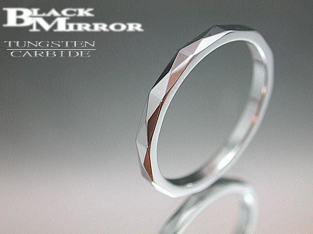 画像1: BLACK MIRROR【ブラックミラー】タングステンリング ダイヤモンドカット2mm幅 13,15,19,21号のみ (1)