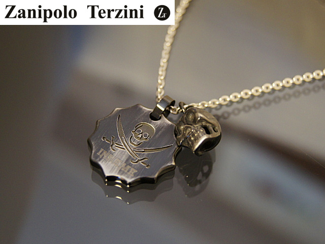 画像1: Zanipolo Terzini【ザニポロタルツィーニ】スカルチャーム付丸タグペンダントセット (1)