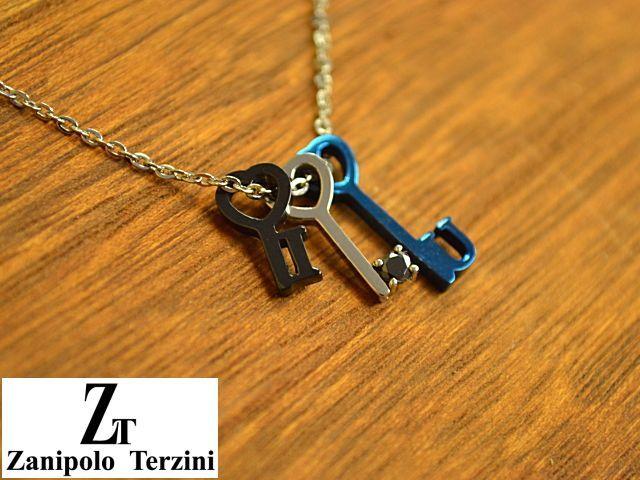 画像1: Zanipolo Terzini【ザニポロタルツィーニ】ステンレスキーモチーフペンダント&チェーンセット ブラック (1)