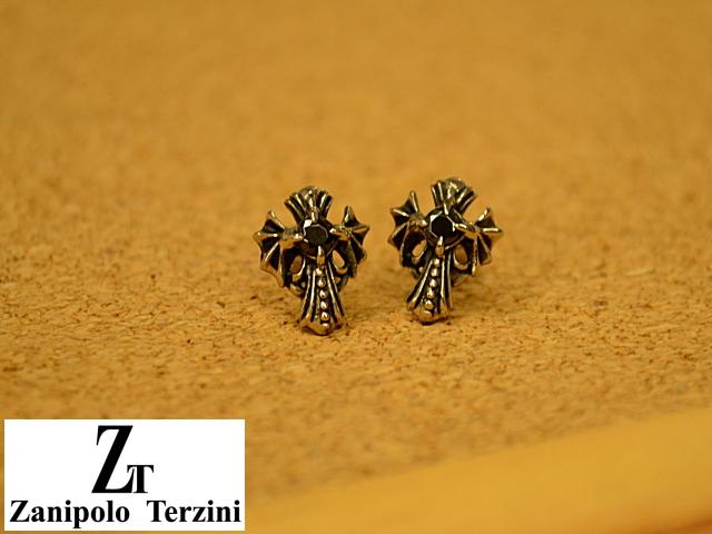 画像1: Zanipolo Terzini【ザニポロタルツィーニ】ステンレス クロスモチーフピアス ブラック (1)
