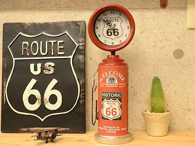 画像1: 【レトロ生活雑貨】 アメリカンレトロなガソリンスタンドポンプ時計 (1)