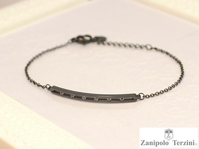画像1: Zanipolo Terzini【ザニポロタルツィーニ】ステンレスラインストーンブレスレット ブラック (1)
