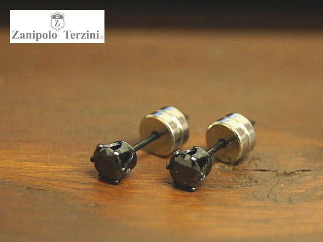 画像1: Zanipolo Terzini【ザニポロタルツィーニ】ステンレスピアス ワンポイントブラックキュービックープタイプ  (1)