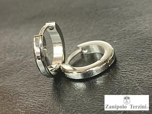 画像1: Zanipolo Terzini【ザニポロタルツィーニ】ステンレスピアス フープタイプ ブラック (1)