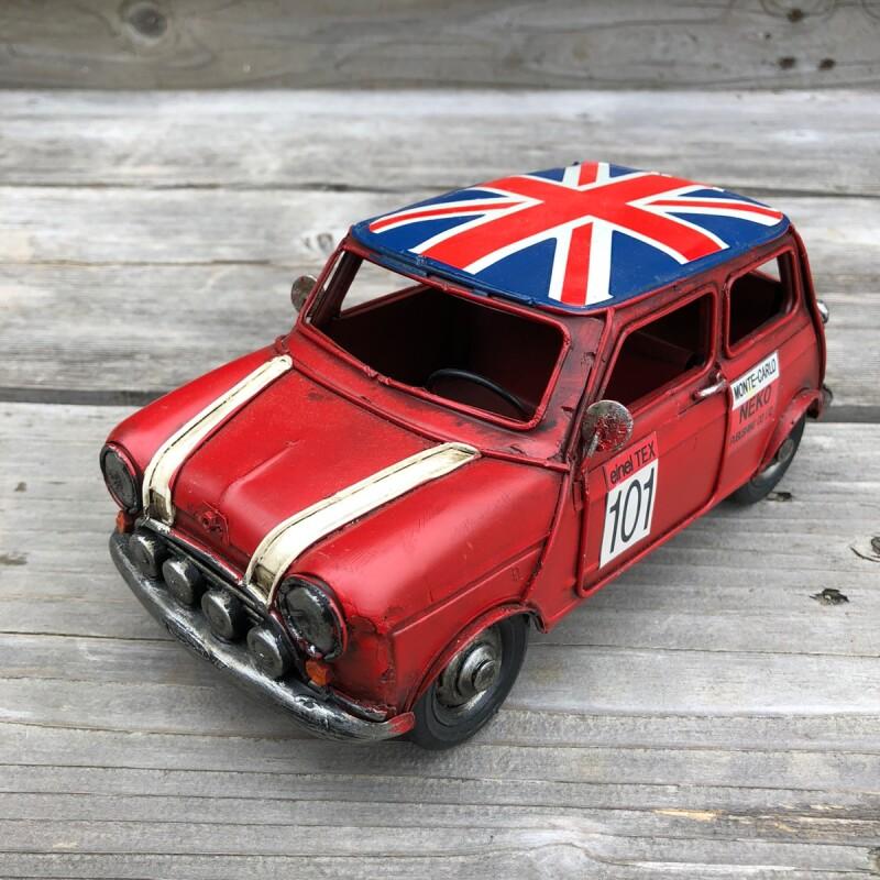 画像1: 【ブリキ自動車模型】イギリス国旗★ミニカー★クラシックミニカー レッド (1)