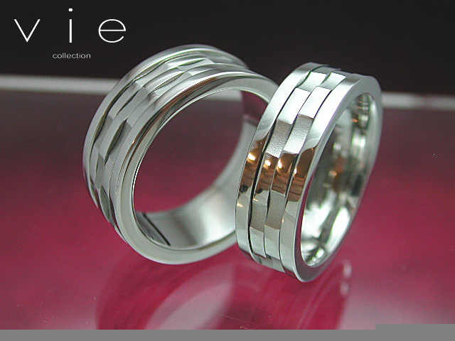 画像1: vie【ヴィー】7号から21号!くるくる回る指輪!ステンレスペアリングR1005-70ペア販売 刻印可能! (1)