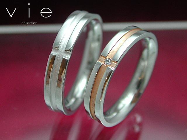 画像1: vie【ヴィー】7号から21号!シンプルダイヤモンドステンレスリングR1099W-1100Pペア販売 刻印可能! (1)