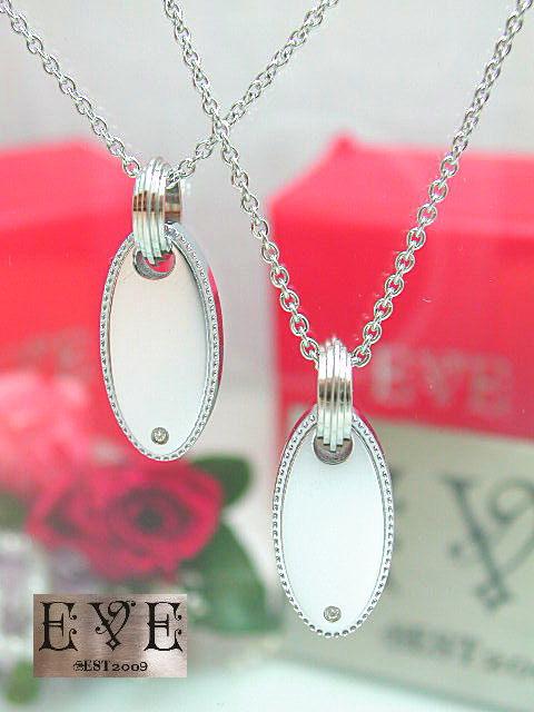 画像1: EVE【イヴ】天然ダイヤモンド!サージカルステンレスペアペンダント!オーバルタイプ♪ペア販売 (1)