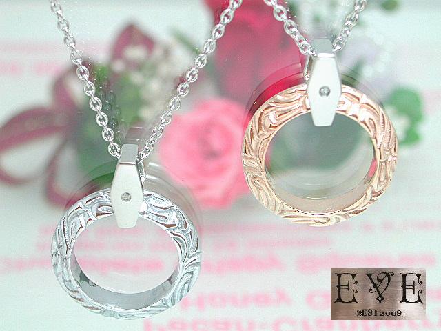 画像1: EVE【イヴ】天然ダイヤモンド!サージカルステンレスペアペンダント♪リングトップ!ペア販売 (1)