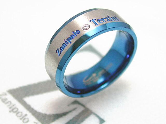 画像1: Zanipolo Terzini【ザニポロタルツィーニ】鮮やかなブルーが魅力!ステンレスリング ZTR1714 (1)