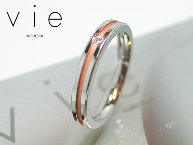 画像1: vie【ヴィー】1号から15号!天然ダイヤモンドステンレスリング ピンクゴールドタイプR1092p刻印可能! (1)